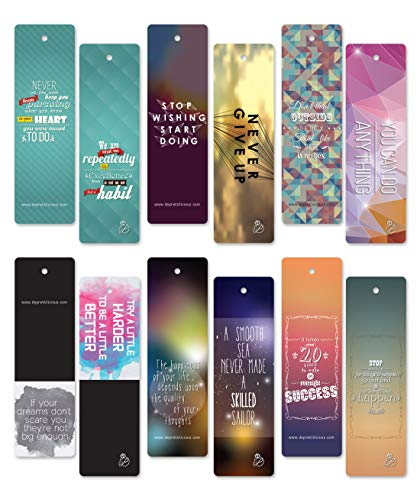 60 pcs Encouraging Bookmarks Set - Colorful Cool Bookmark- Best Gift for Him and Her - Inspirational - Positive Thinking Bookmarks