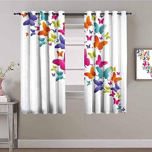 Nileco Cortinas de Opacas - Color mariposa moda arte - 160x115 cm - 3D Impresión Digital con Ojales Aislamiento Térmico - para Sala Cuarto Comedor Salon Cocina Habitación