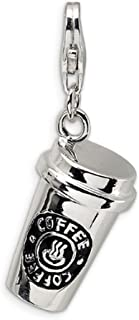 Trendy Rhodium Plated 3D Coffee Cup Floating Lobster Clasp Charm for Key Chain