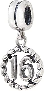 Birthday,Anniversary Celebration Charm Bead Sterling Silver 925 for Charms Bracelet (16th)