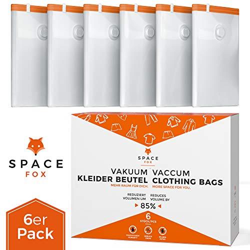 SpaceFox Vakuumbeutel 6er Set - Große Vakuumierbeutel für Kleidung, Bettdecken & mehr - 70 x 100 cm - Hochwertige Vakuumier Beutel -Vacuum Storage Bags