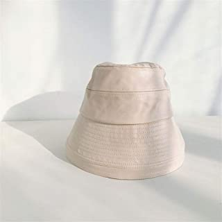 SHENTIANWEI Ins Style hat Korean Wild Female Japanese Harajuku Style Autumn and Winter in Hong Kong pu Leather Bucket hat Black hat Tide (Color : Beige, Size : One Size)