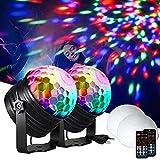 LED Discokugel Kinder FAUETI Discolicht Musikgesteuert Disco Lichteffekte RGB Partylicht, Zeitgesteuertes Stimmungslicht mit 6 Farben, 4 Helligkeiten für Kinder, Zimmer, Bar, Party (Zwei...