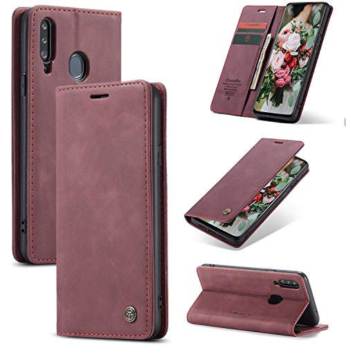 FMPC Handyhülle für Samsung Galaxy A20S Premium Lederhülle PU Flip Magnet Hülle Wallet Klapphülle Silikon Bumper Schutzhülle für Samsung Galaxy A20S Handytasche - Wein Rot