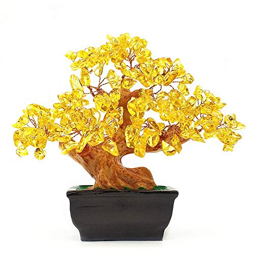 Colorsheng Feng Shui Quartz Crystal Money Tree Bonsai Style Decoration for Luck and Wealth (Yellow)