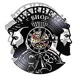 Nfjrrm Peluquería Peluquería Reloj de Pared Peinado Reloj de barbero Disco Grande Vinilo Colgante Luminoso Reloj de Pared 30x30cm