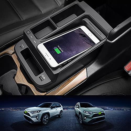JUSTGJS Accesorios inalámbricos para Cargador de Coche Qi 15W MAX para Honda CRV 2017-2021 Todos los Modelos, con USB QC3.0 para iPhone 12/11 / XS/X / 8 Samsung S20 / S10 / S9