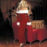 Disfraz de Navidad para mujer, vestido largo de retazos con cuello de felpa sólido rojo, vestido largo con hombros descubiertos, vestido Maxi Sexy