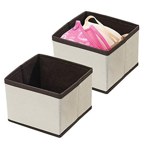 mDesign förvaringslåda i snygg design – tyglåda för garderobsinredning – låda i tyg för garderoben – gräddvit/brun