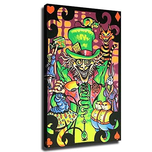 Alice im Wunderland Schwarzlichtposter auf Leinwand, Kunstposter und Wandkunst, Kunstdruck, moderne Schlafzimmer-Dekoration, gerahmt, 12x18inch