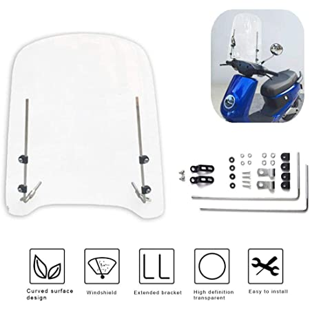 FACO Pare Brise Scoot pour Piaggio 50 Zip 2000 h 730mm - l 700mm Transparent Fixation Peinte