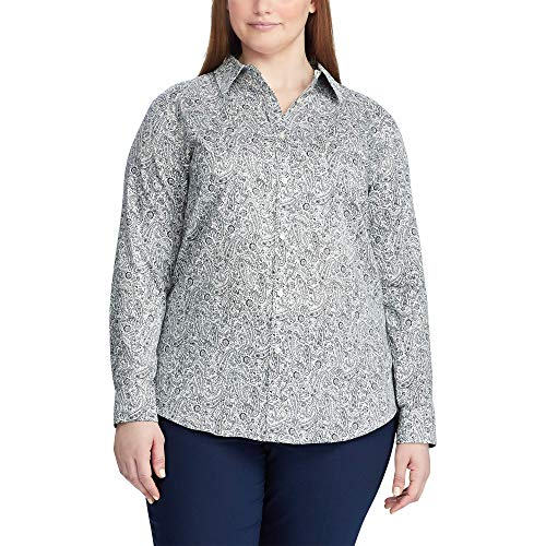 Chaps Women's Plus Size Long Sleeve Non Iron Cotton Sateen-Shirt, Pearl/Capri Navy, 1X