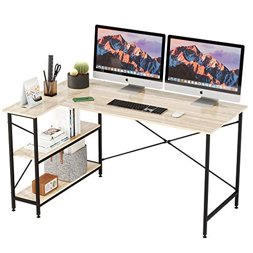 Bestier L Shaped Desk with Storage Shelves 55 Inch, Reversible Computer Desk with Storage Tower Shelf Home Office Corner Desk Writing Study Table Large Workstation Easy Assemble (Oak, 55 Inch)