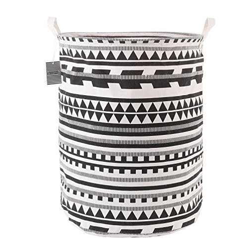 Laundry Basket Hamper Bag Large Foldable Collapsible Accessories Drawstring Waterproof Cotton Space Saving Storage Organizer Perfect for Kids Boys Girls Toys Room, Bedroom, Nursery,Home(Black)