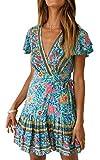 ECOWISH Damen Kleider Boho Vintage Sommerkleid V-Ausschnitt A-Linie Minikleid Swing Strandkleid mit Gürtel 045 Grün M