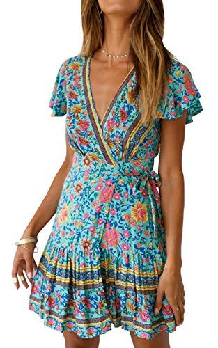 ECOWISH Damen Kleider Boho Vintage Sommerkleid V-Ausschnitt A-Linie Minikleid Swing Strandkleid mit Gürtel 045 Grün L