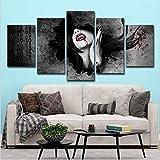 FLWHDZW 5 Paneles Colgando Pintura Vampire Girl Moderno Arte De La Pared Pintura Abstracta Decoración del Hogar-20X35Cmx2/20X45Cmx2/20X55Cmx1