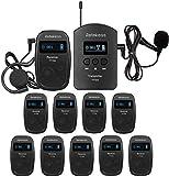 Retekess TT103-TT104 Sistema di Guida Turistica, Audioguide Tour Guide System, 140 m 200 canali per la Guida Turistica, Museo, Conferenza,Chiesa, Fabbrica (1 Ttrasmettitore 10 Ricevitori)