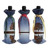 Calm CloudsLonely Tree Impreso Botella de vino Cubierta de la decoración Bolsas de la cubierta, para la fiesta de la degustación de vinos de Navidad Suministros