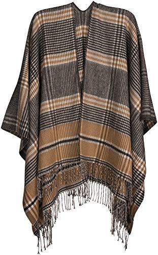 styleBREAKER Damen Cape mit Glencheck Karo Muster und Fransen, Umhang, Poncho, Damen 08010058, Farbe:Beige-Schwarz-Weiß