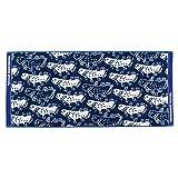 カロラータ 今治タオル アニマル フェイスタオル (魚) 日本製 タオル [吸水性抜群] シーラカンス (ネイビー) 約80×34cm