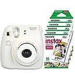 Fujifilm Instax Mini 8 - Cámara instantánea (flash, 1/60 sec) color blanco + 5 paquetes de películas fotográficas instantáneas (10 hojas)