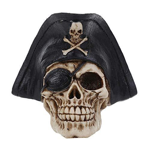 VOANZO Black Hat - Figura decorativa de cabeza humana con diseño de calavera pirata para decoración de mesa de Halloween