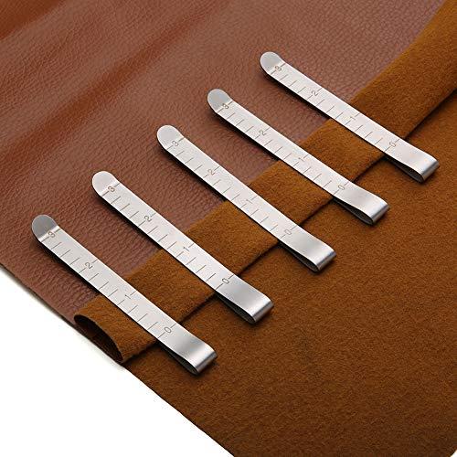 Hem Clips, 20 Piezas Acero Inoxidable Medida Guías de Marcar Regla Costura Sin Pin Hem Clip para Coser Marcado, plateado