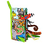 HECCEI Baby Cloth Books, Tail Books, Activity Crinkle Soft Books Toddler Early Development Cloth Books for Baby/Infant/Toddler 3 Months+ (Jungle Tails)