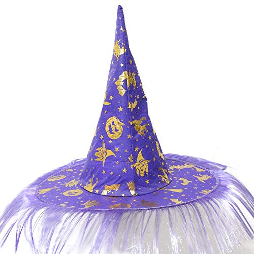 Serzul Easter Halloween Costume Party Accessory Cap Adult Women Men Witch Hat Fluff Solid Cap Purple