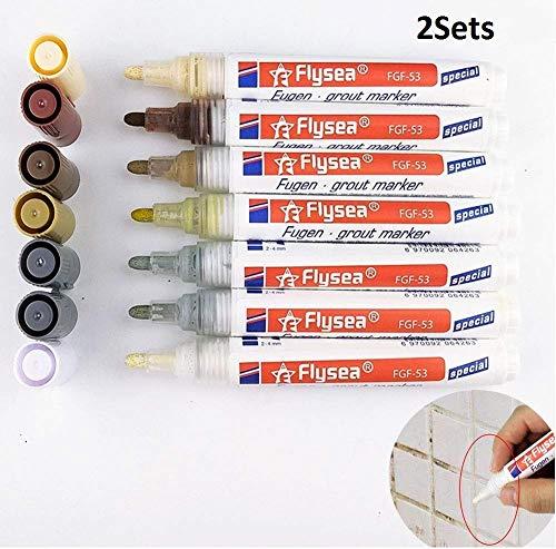 Ceramic Tiles Gaps Professional Repair Pen, Waterproof Ceramic Tile Grout Marker, Tile Grout Coating Marker Sealant Pen Best for Home Kitchen Bathroom Wall (2set)