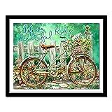 Kswlkj Kit De Pintura De Diamante 5D Para Adultos Rueda De Bicicleta De Primavera Taladro Completo,Artesanía De Diamantes Para Decoración Del Hogar,Kits De Diamantes 30x40cm
