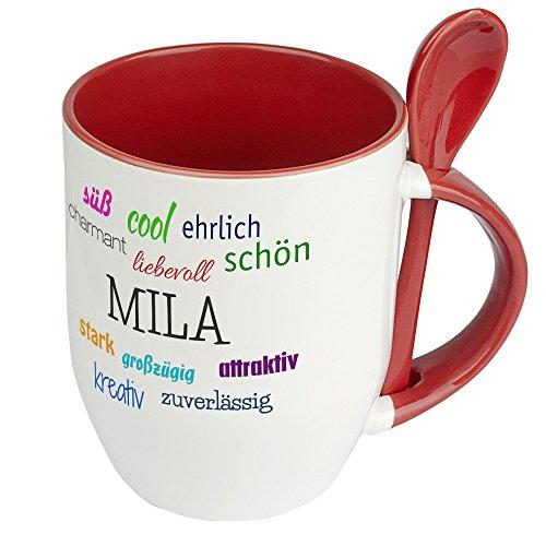 Löffeltasse mit Namen Mila - Positive Eigenschaften von Mila - Namenstasse, Kaffeebecher, Mug, Becher, Kaffeetasse - Farbe Rot