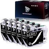 Wolfgray LC3211 LC3213 Tinta Compatible para Brother LC3211 LC 3211 Cartuchos de Tinta para Brother DCP-J572DW MFC-J491DW MFC-J497DW DCP-J772DW DCP-J774DW MFC-J890DW MFC-J895DW Impresora (5 Negro)