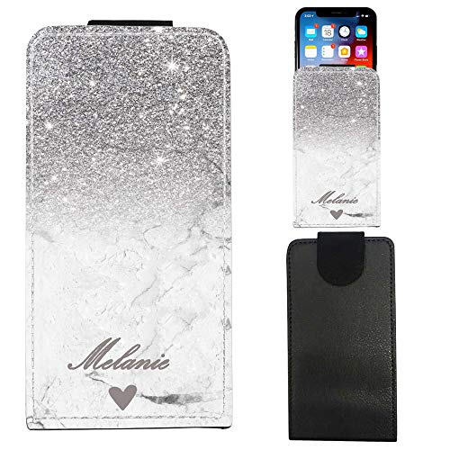 i-Tronixs Telefonhülle für CUBOT Echo PERSONALISIERTER Glitzereffekt & Marmorgehäuse (5) UNIVERSAL Phone Cover, FLIP Cover with Card Slots Customise with Your Name & Initials Birthday Gift (Silver)