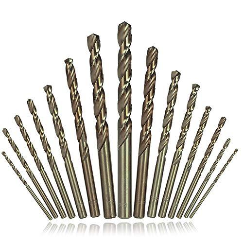 Afunta HSS-Spiralbohrer, Schaftfräser mit geradem Schaft, für Hartmetall, Edelstahl, Gusseisen, Holz, Aluminium, Titan, 15 Stück