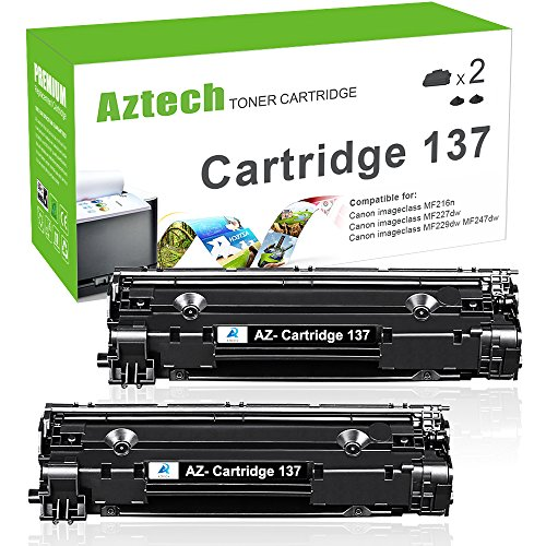 Aztech 2 Pack 2,400 Pages Yield Toner Cartridge Replaces Canon 137 Canon Cartridge 137 9435B001 Used for Printers Canon imageCLASS MF212w imageCLASS MF216n Canon imageCLASS MF227dw imageCLASS MF229dw