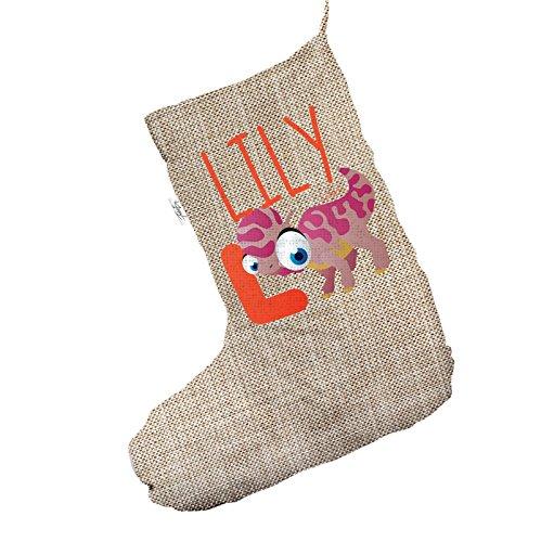 Personalizzato Baby Dinosaur lettera l Jumbo in iuta, calza di Natale sacchetto regalo