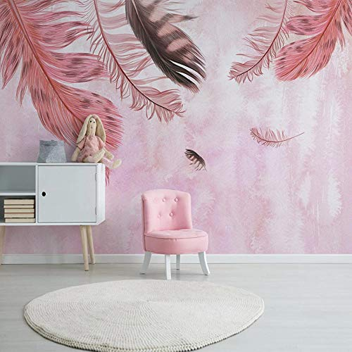 XIAOHUKK PVC self-Adhesive Wallpaper 3D Photo Hand-Painted Pink Feather Large Mural Mural Art Modern Home Decoration Living Room Dining Room Bedroom Office