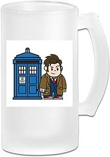 Printed 16oz Frosted Glass Beer Stein Mug Cup - Mitesized Doctor Who 10th David Tennant Tardis - Graphic Mug