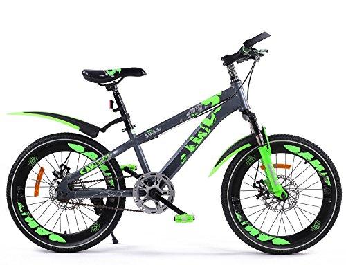 Z&D Biciclette per Bambini, Bicicletta da Montagna con Parafango 1 velocità, 18 '', Freno A Disco Anteriore E Posteriore, per 7-10 Olds Kids Blue Red Orange Green,Green