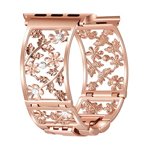 Duoan Floral Band Compatible with Apple Watch Jewelry Band 38mm 40mm iWatch Bands Series 5 4 3, Bling Crystal Bracelet Strap Hollow Metal Cuff Dressy, Chic Women Girls Wristband (38mm/40mm Rose Gold)