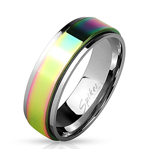 Bungsa Spinner Ring, Stainless Steel and Rainbow Finish – Silver-Coloured Stainless-Steel Ring with a Colourful, Spinning Middle Ring – for Men and Women – Subtle LGBT / Gay Pride Rainbow