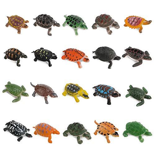 OOTSR 20pcs Turtle Figurines Toys, Realistic Sea Turtle Assorted Mini Plastic Tortoises for Party Favor Decoration/Bathtub Bath Pool Toy/Pet Turtle Collection/Gift & Rewards