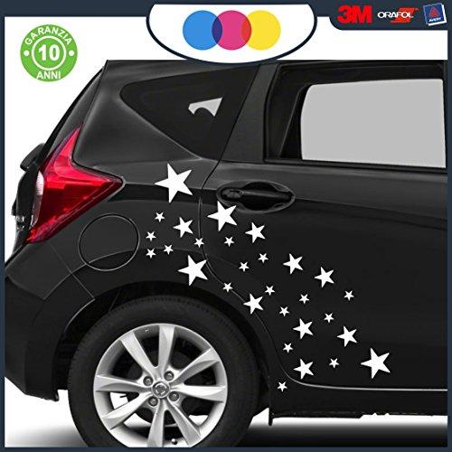 Just Go Online S.l.u. 30 ADESIVI PER AUTO - STELLE - STELLINE - - - - - - - COLORI A SCELTA - - - - -AUTO MACCHINA PC NOTEBOOK - NOVITà!! auto moto camper, stickers, decal (Bianco)