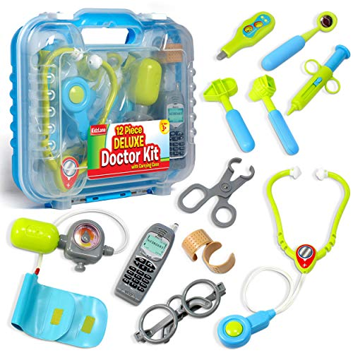 Image of Durable Kids Doctor Kit with Electronic Stethoscope and 12 Medical Doctor's Equipment, Packed in a Sturdy Gift Case