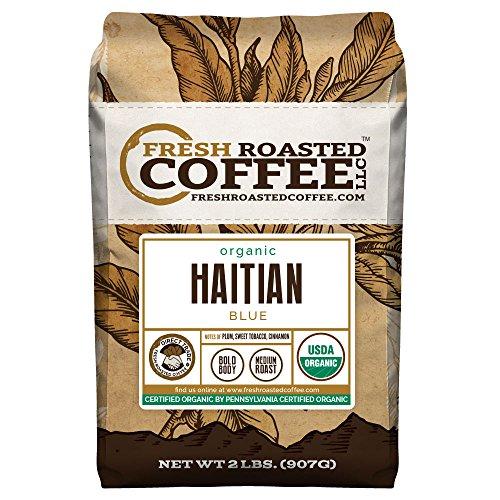 Fresh Roasted Coffee LLC, Organic Haitian Blue Coffee, Medium Roast, Direct Trade, USDA Organic, Whole Bean, 2 Pound Bag
