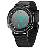 Shifenmei Digitale Uhren Sportuhr Einfarbiges Design Wasserdicht Wochentagsanzeige Nylon Armband...