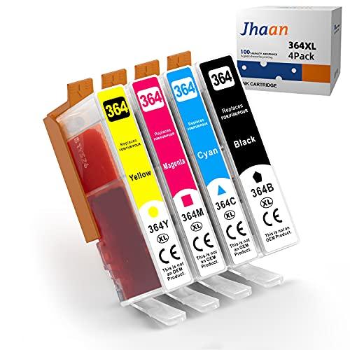Jhaan 364XL - Cartuchos de tinta de repuesto para HP 364XL (compatible con HP Deskject 3520, 3070A, Photosmart 5510, 5524, 7510, 6510, 6520, 551Officejet 4620, 4622 (negro, cian, magenta, amarillo)