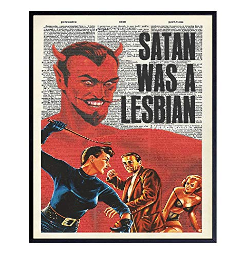 Lesbian LGBT Gay Dictionary Wall Art - 8x10 Photo Poster - Funny Gift or Home Decor for Queer, Bi - Unframed Vintage Picture Print